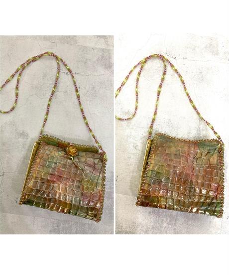 Pale color croco embossed mini bag-1931-6
