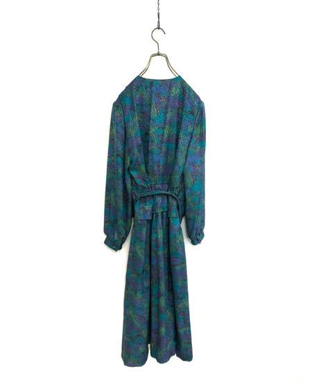 TOKYO STYLE green multicolor rétro dress-1777-3