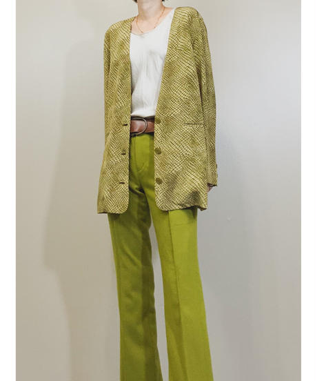 LA BELLE SAISON khaki color crocodile jacket-1388-9