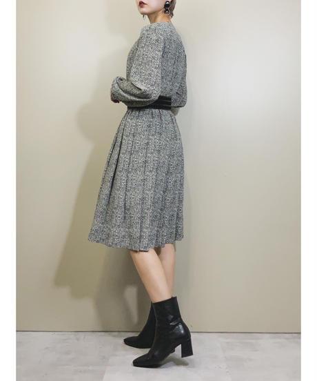 Elegant monotone waist gather dress-1696-2
