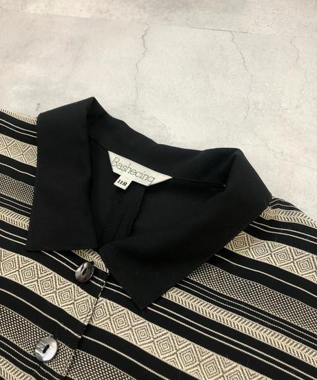 Bashecing jacquard design black shirt-1833-4