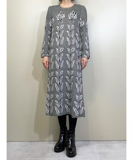 Toyoko Saito monotone knit dress-1616-1