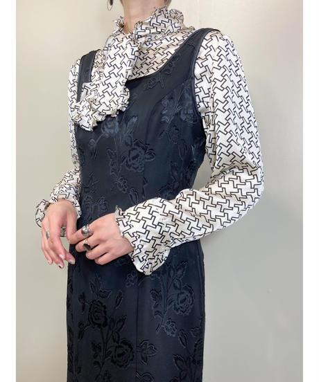 EspritMur black floral mermaid long dress-1825-4