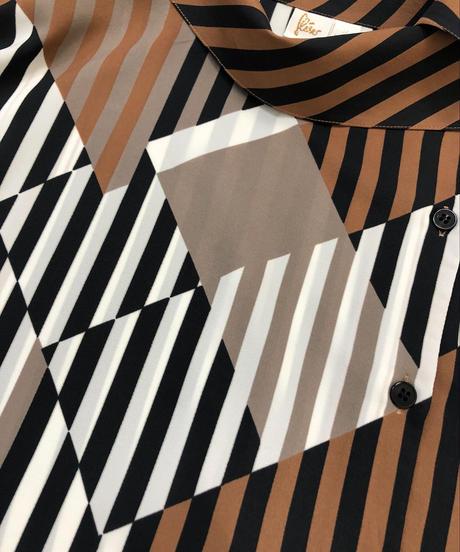 Asymmetry collar stripe design shirt-1463-10
