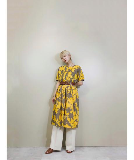 Artistic flower cotton yellow dress-1914-5