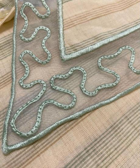 SHAN HONG lace collar stripe shirt-2046-7