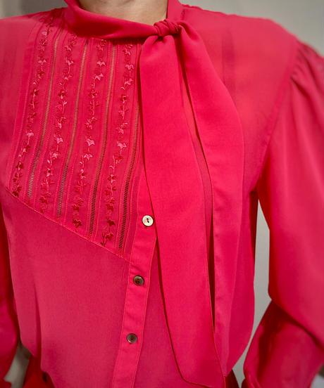 HANAE MORI magenta ribbon band collar shirt-2199-9