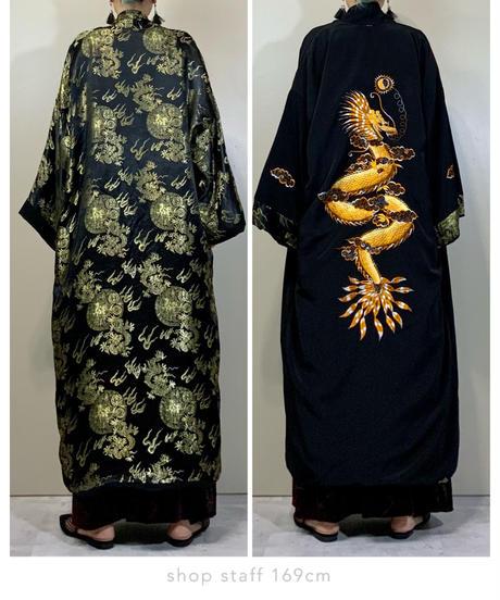 Dragon design ethnic black gown-2213-10
