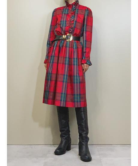 MERVEILLEUSES frill tartan check dress-1451-10