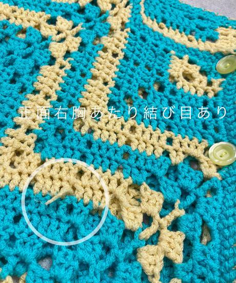 Cream yellow & light blue crochet  knit cardigan -1952-6