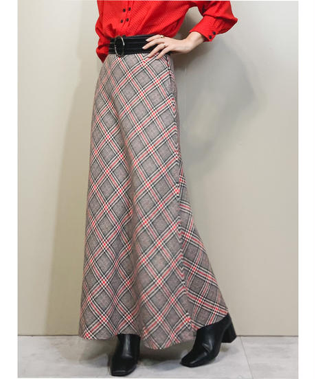 Madras check design import maxi skirt-1522-11