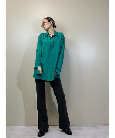 SUN over size green color silk shirt-2211-10