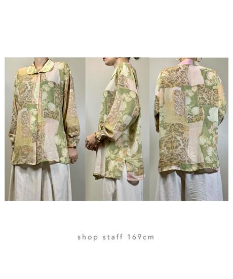 GALSVILLE classical flower sheer shirt-2052-7