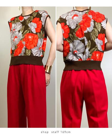 La Crevette orange  flower cotton vest-1972-6