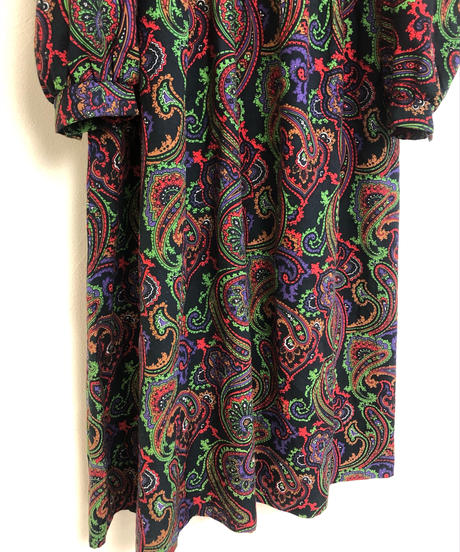 Psychedelic color paisley design import long dress-1502-11