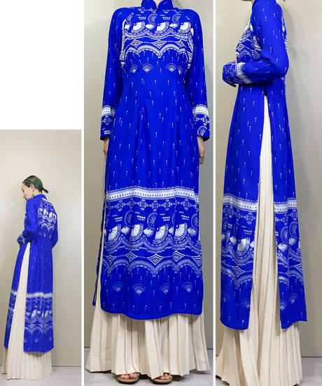 Jacquard fabric bright blue vintage slit dress-1778-3
