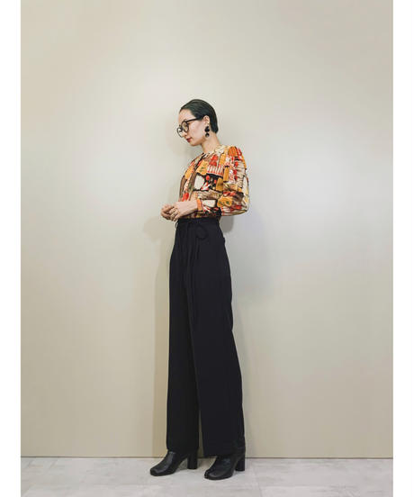 Warm colors pleats design rétro tops-1424-10