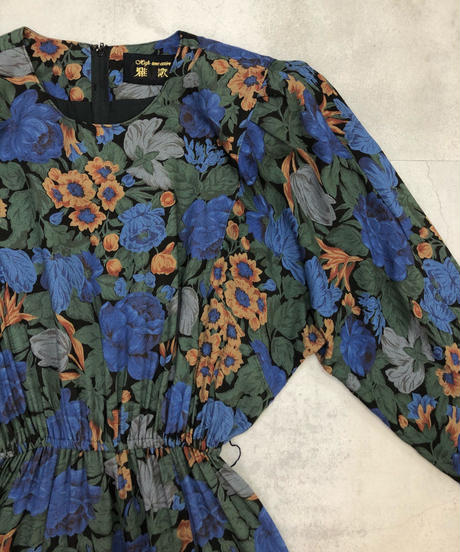 High-tone attire blue floral dress-1700-2