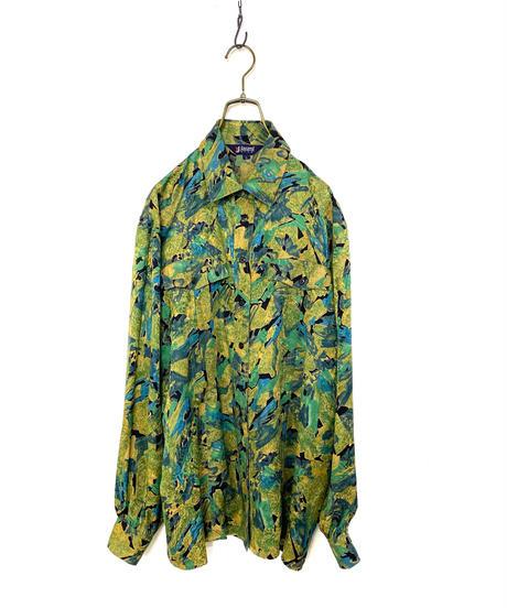 jasmi artistic design green silk shirt-2141-9
