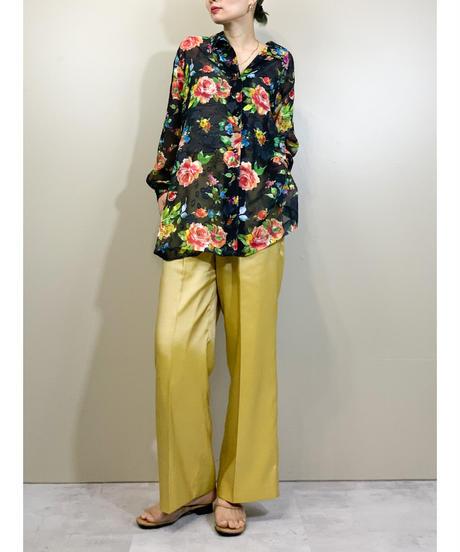 Kimi bright floral black sheer shirt-1889-5