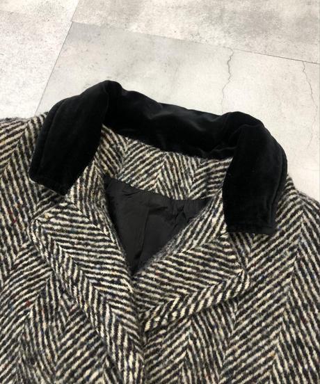 Velours  neck MADE IN U.S.A herringbone  long coat-1490-10