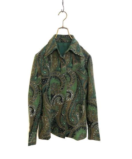 Paisley design dark green wool shirt-1535-11