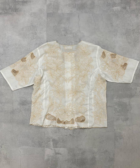 Floral&mesh embroidery rétro tops-1907-5
