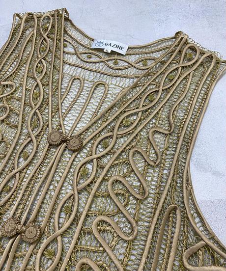 GAZINE embroidery 3D design gold color vest-2029-7