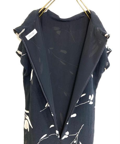 SPECCHIO leaf design  black  long dress-1953-6