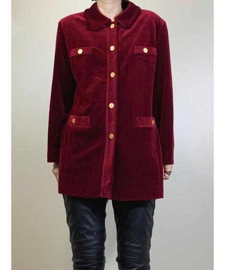 JANE JMORE wine red corduroy jacket-1599-1