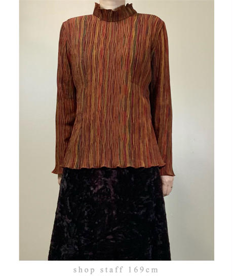 Current Look warm color pleated tops-2164-9