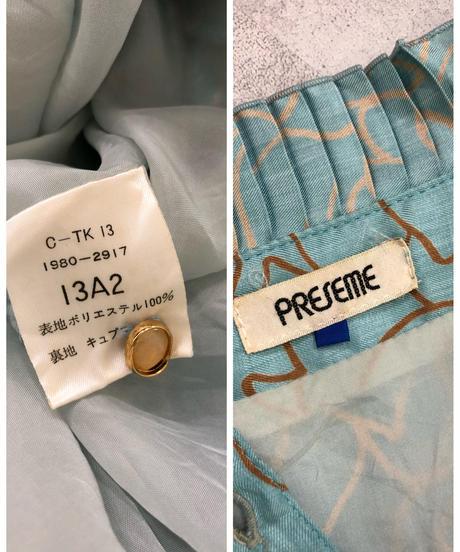PRESEME rose pattern light blue dress-1843-4