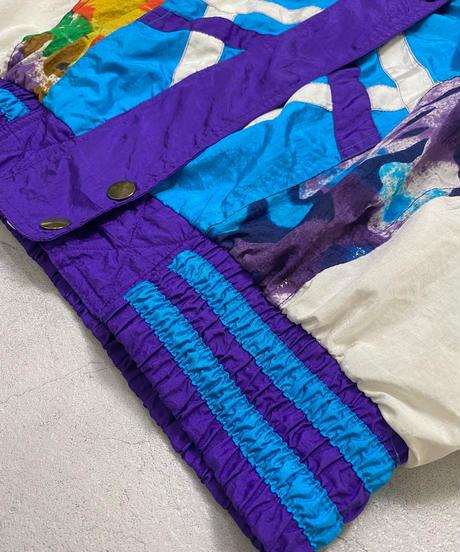 EAST WEST blue multicolor nylon jacket-2212-10