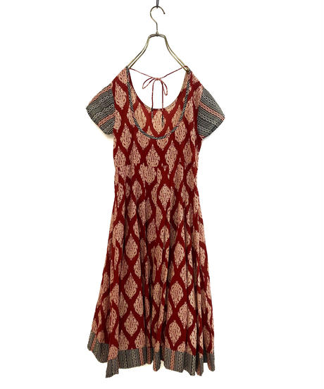 Overall pattern wine red ethnic dress-1246-7