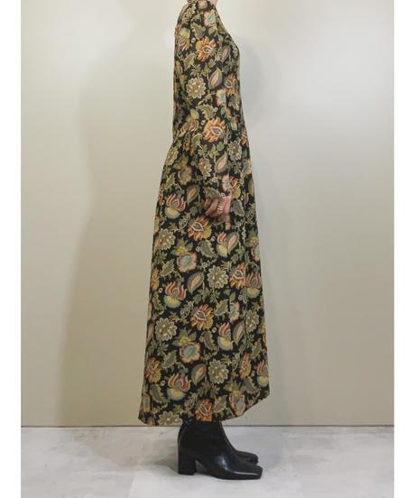 Exotic flower black gather dress-1781-3