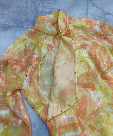 Pale yellow elegant vintage slit dress-1832-4