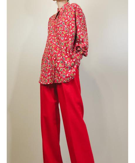BA-TSU vermilion color flower design shirt-1508-11