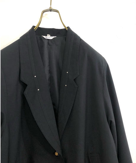 Studs collar design over size  black jacket-1739-3