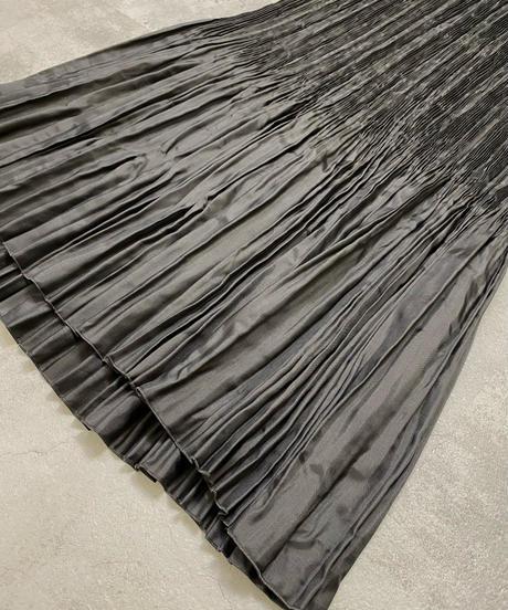 Black washer pleated long skirt-2054-7