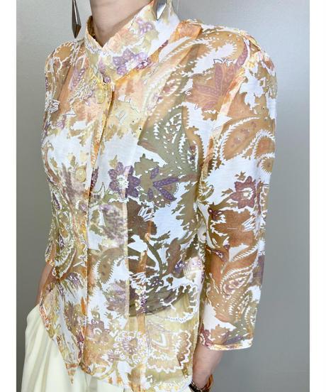 Orange yellow see-through shirt jacket-1286-7