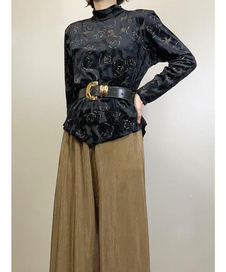 Black rose velour&sheer classical tops-1663-2