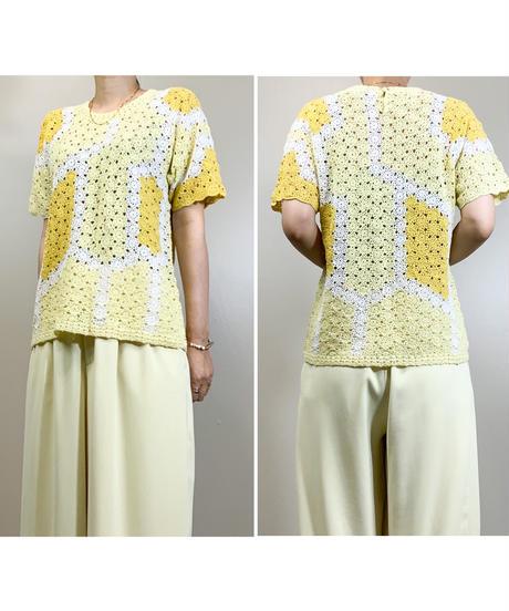 SUNLORE pastel yellow knit &belt set-1942-6