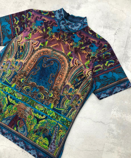 Exotic design cool color high neck tops-1851-4