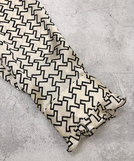 HANAE MORI frill ribbon tie shirt-1824-4