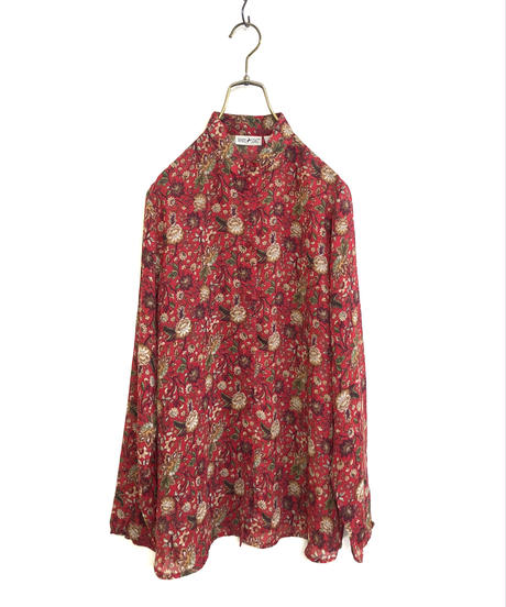 WHITE.STAG botanical rétro red shirt-1393-9