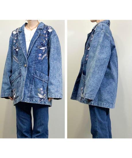Floral embroidery long denim jacket-1756-3