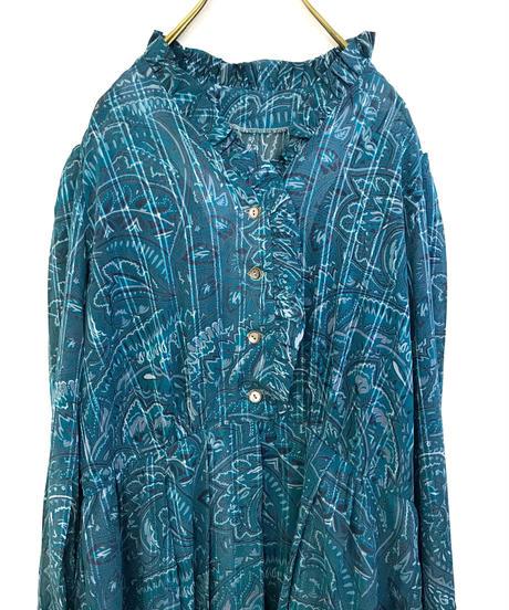 Bandana pattern turquoise blue dress-1051-4