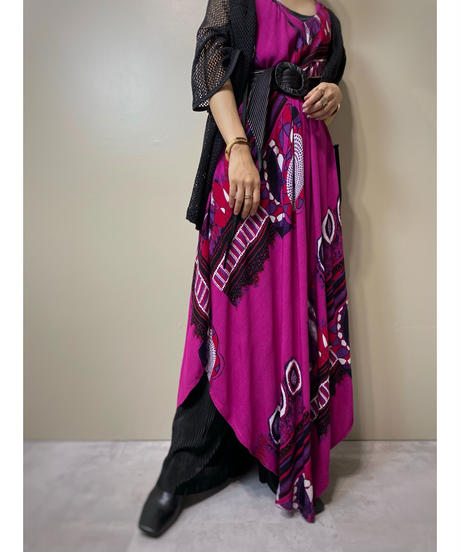 Magenta  color exotic design cotton dress-2104-8