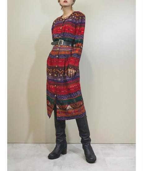 Metal button ethnic design MADE IN U.S.A dress-1335-8
