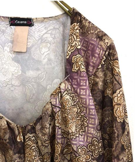 Cacama back ribbon exotic design tops-1717-3